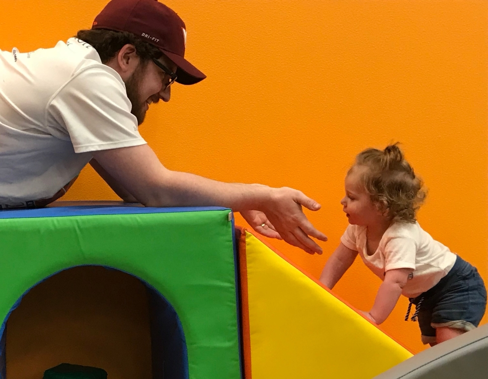 Toddler and Dad on Play Gym