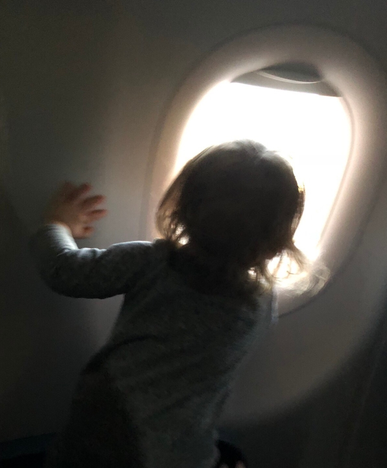 Toddlers on plane.